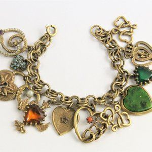Jewelry - VINTAGE JEWELRY HEART CHARM BRACELET LOADED